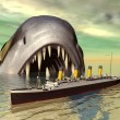 Big fish with Ocean Liner — Stock Photo