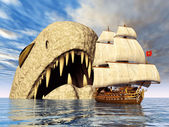 Sea Monster with Sailing Ship — Stock Photo