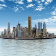 Stock Photo: City in Sea