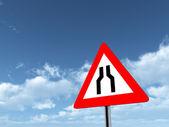 Warning Sign Road Narrows On Both Sides — Stock Photo