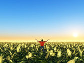 Man In Green Field — Stock Photo