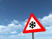 Road Sign Risk of Snow or Ice — Stock Photo