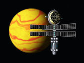 Alien Planet with Space Probe — Stock Photo