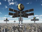 Alien Spacecrafts in Earth's Atmosphere — Stock Photo