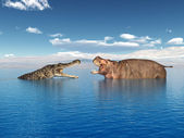 Crocodile and Hippo — Stock Photo