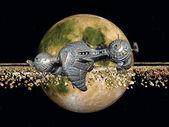 Gelben planeten und raumschiffe — Stockfoto