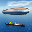 Airship and Ocean Liner — Stock Photo