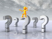 Question Marks with Thinker — Stock Photo