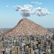 Stock Photo: Volcano in Big City