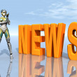 Female Robot with the word NEWS — Stock Photo #47299977