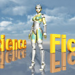 Female Robot with the words Science Fiction — Stock Photo #47709661