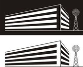 Silhouette Building and Radio Tower — Vetor de Stock
