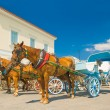 Stock Photo: Traditional horse drawn taxis on island of Spetses, Greece