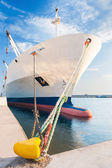 Docked dry cargo ship with bulbous bow — Stock Photo
