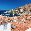 Overview of the island of Hydra, Greece - Stock Photo