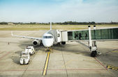 Departure in airport field — Stock Photo