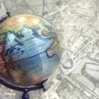 Globe and map — Stock Photo