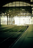 Morning rail station — Stock Photo