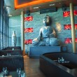 Buddha in restaurant — Stock Photo