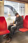 Man inside dutch metro — Stock Photo