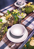 Winter party table — Stock Photo