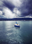 Yacht on Lake — Stock Photo
