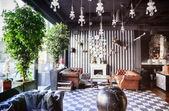 Restaurant with fireplace — Stockfoto