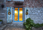 Evening old window — Stock Photo
