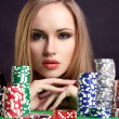 Sexy woman with game chips — Stock Photo #13291577