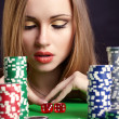 Sexy woman with game chips — Foto Stock