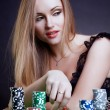 Sexy woman with game chips — Stock Photo #13291603