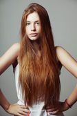 Beautiful hair, portrait of young girl — Stock Photo