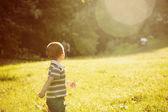 Szczęśliwy mały chłopiec w parku — Zdjęcie stockowe