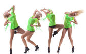 Collage, Modern ballet dancer dancing on the white studio background — Stock Photo