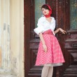 Beautiful young girl in retro style — ストック写真