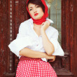 Beautiful young girl in retro style — Stock Photo #13805317
