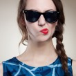 Beautiful and fashion girl in sunglasses, close-up portrait, studio shot — Stock Photo