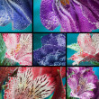 Collage, Beautiful flower in water, macro — Stock fotografie