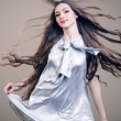 Closeup portrait of glamour young girl with beautiful long hair — Stock Photo #13805512