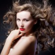 Closeup portrait of glamour young girl with beautiful long hair — Stock Photo #13805523