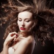 Closeup portrait of glamour young girl with beautiful long hair — Stock Photo #13805528