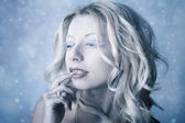 Sneeuwkoningin, creatieve close-up portret — Stockfoto