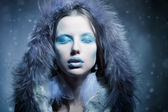Snow Queen, creative closeup portrait — Stock Photo