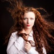 Closeup portrait of glamour young girl with beautiful long hair — Стоковая фотография