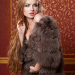 Stock Photo: Fashion and young girl on rococo background
