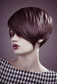 Closeup portrait of glamour young girl with beautiful short hair — Stock Photo
