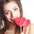 Girl with lollipop portrait — Stock Photo #18553849