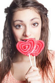Girl with lollipop portrait — Stock Photo