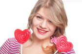 Girl with lollipop portrait — Stock Photo