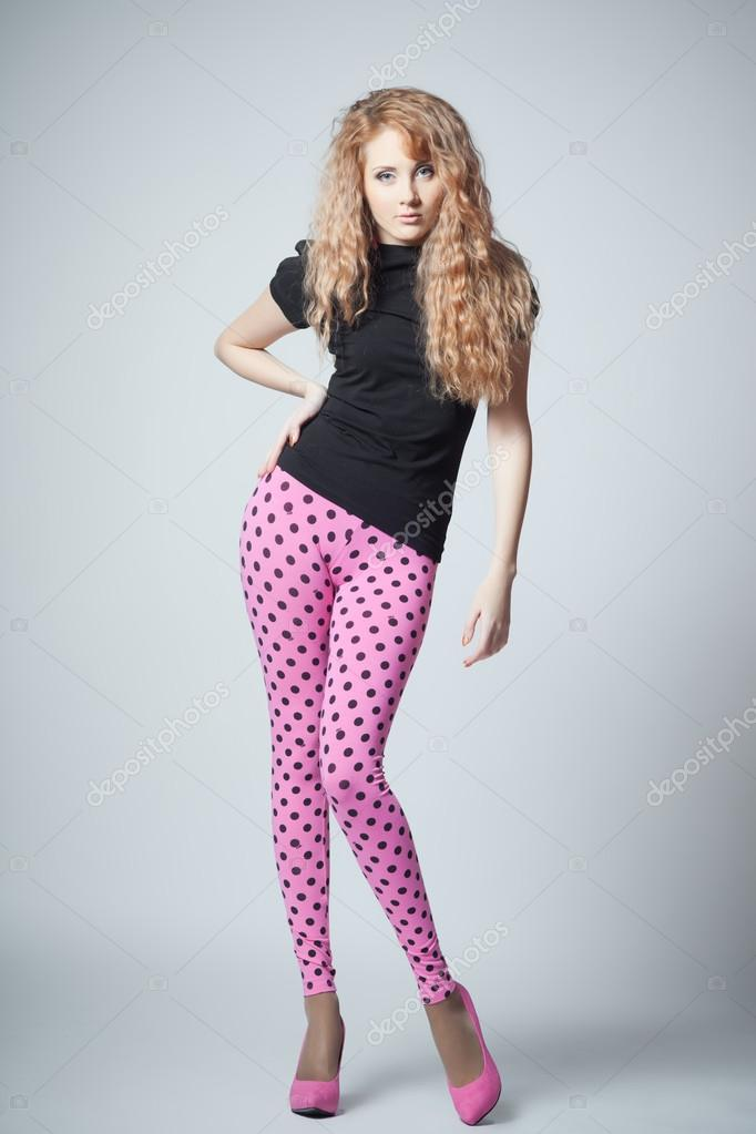 Beautiful Young Girl In Fashion Style Stock Photo